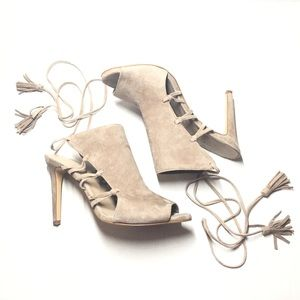 Lord & Taylor 424 Fifth Taupe Lace Up Suede Heels